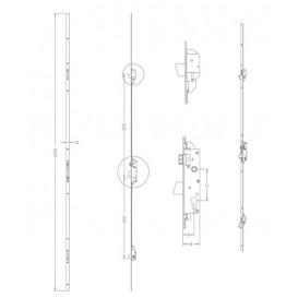 Κλειδαριά ασφαλείας μαχαιρωτή 3 σημείων 30αρα με ρυθμιζόμενη γλώσσα της κλειδαριάς