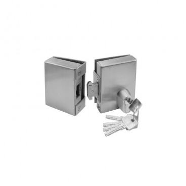 Κλειδαριά κρυστάλλου Τζαμόπορτας Γάντζου με κύλινδρο ασφαλείας πρόσθετη GEVY